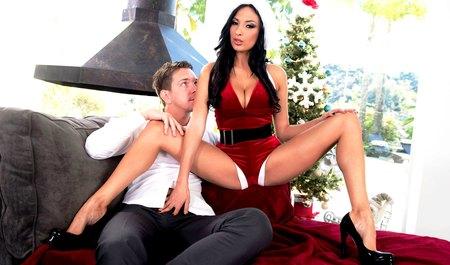 Мужичок трахает любимую телку вместо Санта-Клауса на кровати